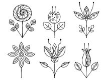 Set of vector hand drawn decorative stylized black and white childish flowers. Doodle style, graphic illustration. Ornamental cute Royalty Free Stock Image