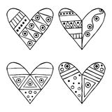 Set of vector hand drawn decorative stylized black and white childish hearts. Doodle style, graphic illustration. Ornamental cute Royalty Free Stock Photos