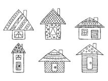 Set of vector hand drawn decorative stylized black and white childish houses. Doodle style, graphic illustration. Ornamental cute Royalty Free Stock Photography