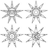 Set of vector hand drawn decorative stylized black and white childish tribal sun with lights. Doodle style, tribal graphic illustr Royalty Free Stock Images