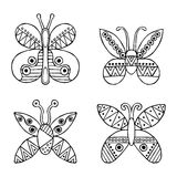 Set of vector hand drawn decorative stylized childish butterflies. Doodle style, graphic illustration. Ornamental cute hand drawin Stock Photos