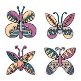 Set of vector hand drawn decorative stylized childish butterflies. Doodle style, graphic illustration. Ornamental cute hand drawin Royalty Free Stock Photos