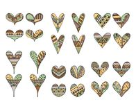 Set of vector hand drawn decorative stylized childish hearts. Doodle style, tribal graphic illustration. Ornamental cute hand draw. Ing Series of doodle cartoon vector illustration