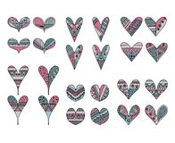 Set of vector hand drawn decorative stylized childish hearts. Doodle style, tribal graphic illustration. Ornamental cute hand draw. Ing Series of doodle cartoon stock illustration