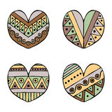 Set of vector hand drawn decorative stylized childish hearts. Doodle style, tribal graphic illustration. Ornamental cute hand draw Royalty Free Stock Photography