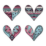 Set of vector hand drawn decorative stylized childish hearts. Doodle style, tribal graphic illustration. Ornamental cute hand draw Stock Photo