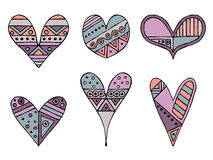 Set of vector hand drawn decorative stylized childish hearts. Doodle style, tribal graphic illustration. Ornamental cute hand draw Stock Photography