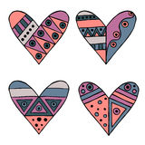 Set of vector hand drawn decorative stylized childish hearts. Doodle style, tribal graphic illustration. Ornamental cute hand draw Royalty Free Stock Image