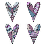 Set of vector hand drawn decorative stylized childish hearts. Doodle style, tribal graphic illustration. Ornamental cute hand draw. Ing in blue, pink colors vector illustration