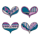 Set of vector hand drawn decorative stylized childish hearts. Doodle style, tribal graphic illustration. Ornamental cute hand draw. Ing in blue, pink colors stock illustration