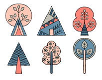 Set of vector hand drawn decorative stylized childish trees. Doodle style, graphic illustration. Ornamental cute hand drawing in p Royalty Free Stock Photography