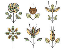 Set of vector hand drawn decorative stylized vintage brown childish flowers. Doodle style, graphic illustration. Ornamental cute l Royalty Free Stock Photography