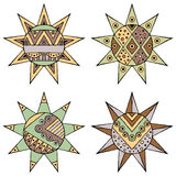 Set of vector hand drawn decorative stylized vintage brown childish tribal sun with lights. Doodle style, tribal graphic illustrat Royalty Free Stock Photo