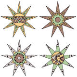 Set of vector hand drawn decorative stylized vintage brown childish tribal sun with lights. Doodle style, tribal graphic illustrat. Ion. Ornamental cute line Stock Photo