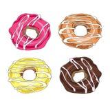 Set of vector hand drawn donuts Royalty Free Stock Photo