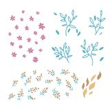 Set of vector hand drawn doodle floral elements. Decoration elements for simple design invitation, wedding cards, valentines day, vector illustration
