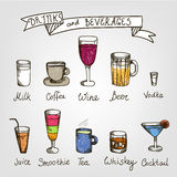 Set of vector hand drawn drinks Royalty Free Stock Images