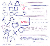 Set of vector hand drawn Royalty Free Stock Images