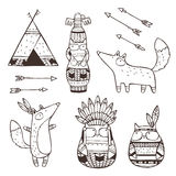 Set of vector hand drawn indian elements. Set of vector hand drawn indian elements (funny animals, arrows, dream-catchers, totem Stock Photos