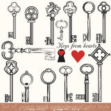 Set of vector hand drawn keys set in vintage style Royalty Free Stock Photography