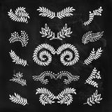 Set of vector hand drawn laurels, wreath, branches Royalty Free Stock Image