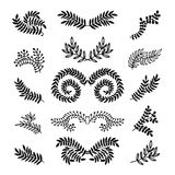 Set of vector hand drawn laurels, wreath, branches. Nature, floral doodle collection. Decoration elements for design invitation, wedding cards, valentines day Stock Photography
