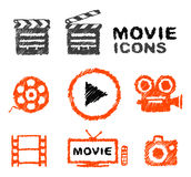 Set of vector hand-drawn movie icons. Film concept, hatch sketch doodles style Royalty Free Stock Photography