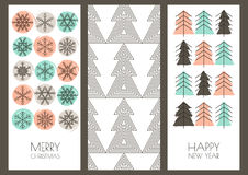 Set of vector hand drawn New Year and Christmas greeting cards. Royalty Free Stock Images