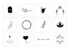 Romantic and wedding clipart, feminine logo elements. Set of vector hand drawn objects. Romantic and wedding clipart, feminine logo elements. For business Royalty Free Stock Photo