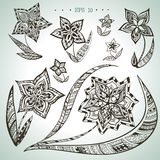 Set of vector hand drawn ornamental flowers Royalty Free Stock Photos