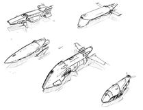 Set of Vector Hand Drawn Pencil Sketches of Sci-fi Space Ships. Set of five hand drawn pencil concept art sketches of scifi sci-fi space ship designs Royalty Free Stock Photo