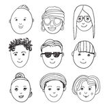 Set of vector hand drawn people faces Royalty Free Stock Photography