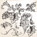 Set of vector hand drawn swirl flourishes for design Royalty Free Stock Photography