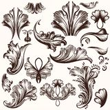 Set of vector hand drawn swirls in vintage style Stock Photo