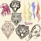 Set of vector hand drawn tattoo with animals Royalty Free Stock Photo