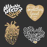 Set of vector hand drawn typography design element in heart shape Royalty Free Stock Image