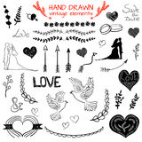 Set of VECTOR hand drawn vintage elements, black drawings Royalty Free Stock Image