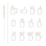 Set of vector hand gestures in mono thin line style Royalty Free Stock Photo