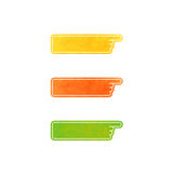 Set of vector hand pointers. Yellow, orange, green Royalty Free Stock Photo