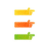 Set of vector hand pointers - yellow, orange, green. Set of vector hand pointers royalty free illustration