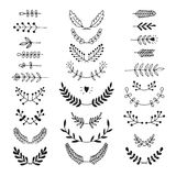 Set of vector handdrawn laurels, wreath Royalty Free Stock Photography
