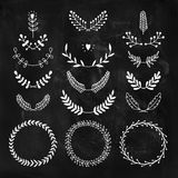 Set of vector handdrawn laurels and wreaths Stock Images