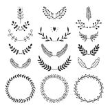 Set of vector handdrawn laurels and wreaths Royalty Free Stock Photos