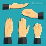 Set of vector  hands. Vector illustration in the style of flat. A set of  hands. Empty hands for your design. Different staging and camera angle. Business Royalty Free Stock Image