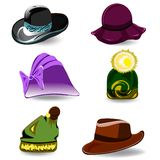 Set vector hats. Set a variety of hats for women and men. Colorful cartoon style. Vector illustration Royalty Free Stock Image