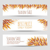Set of vector headers, banners with autumn leaves Stock Image