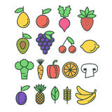 Set of vector healthy eco fruit and vegetables icons Royalty Free Stock Images