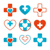 Set of vector heart & cross medical icons Royalty Free Stock Photos