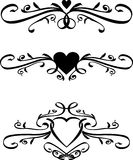 Set of Vector heart Scrolls Stock Image