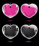 Set of vector heart-shaped labels Royalty Free Stock Photos